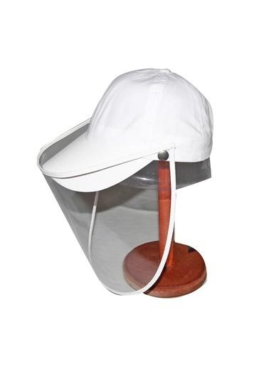 Bay Şapkacı Bay Şapkaci Koruyucu Yüz Siperli Beyaz Şapka Beyaz